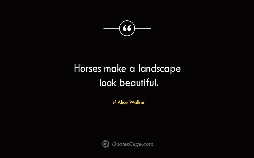 Horses make a landscape look beautiful. Alice Walker 1