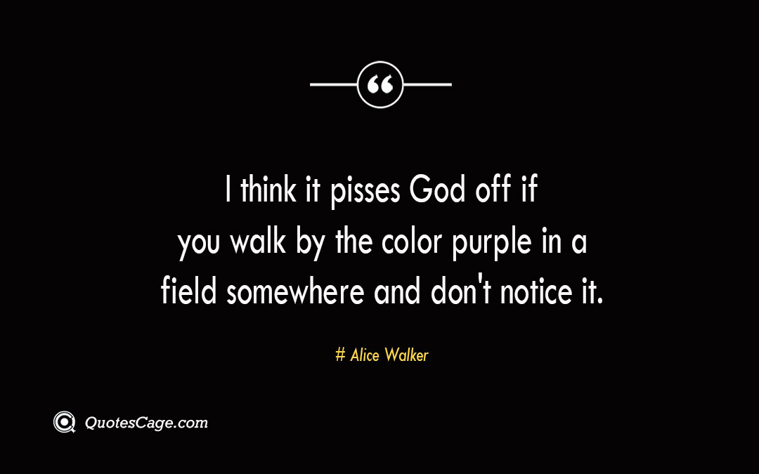 I think it pisses God off if you walk by the color purple in a field somewhere and dont notice it. Alice Walker 2