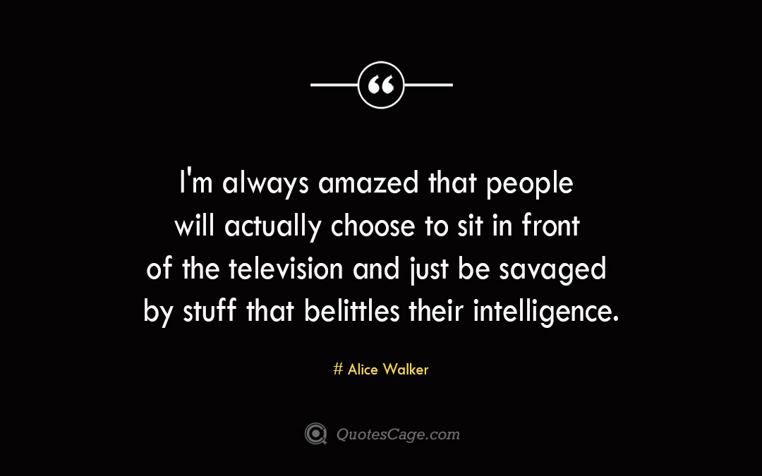 Im always amazed that people will actually choose to sit in front of the television and just be savaged by stuff that belittles their intelligence. Alice Walker