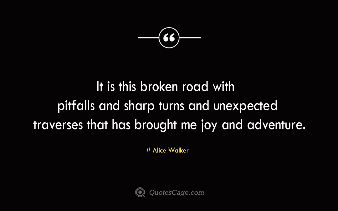 It is this broken road with pitfalls and sharp turns and unexpected traverses that has brought me joy and adventure. Alice Walker