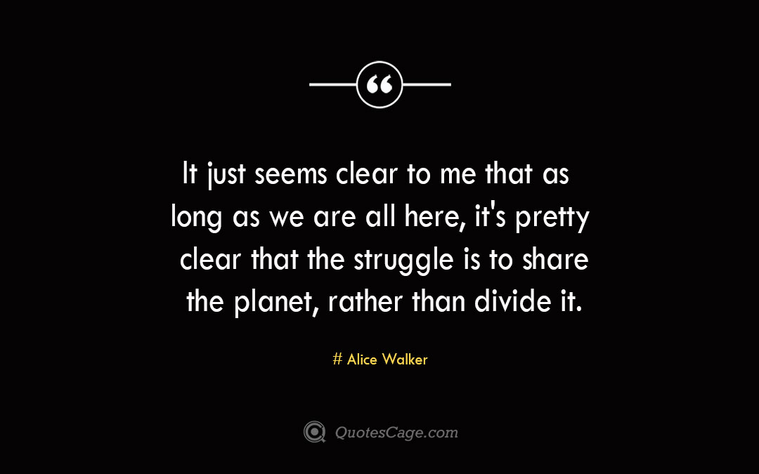 It just seems clear to me that as long as we are all here its pretty clear that the struggle is to share the planet rather than divide it. Alice Walker 2
