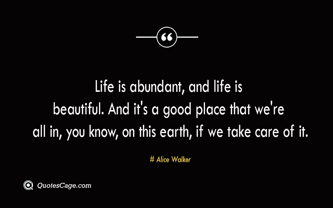 Life is abundant and life is beautiful. And its a good place that were all in you know on this earth if we take care of it. Alice Walker