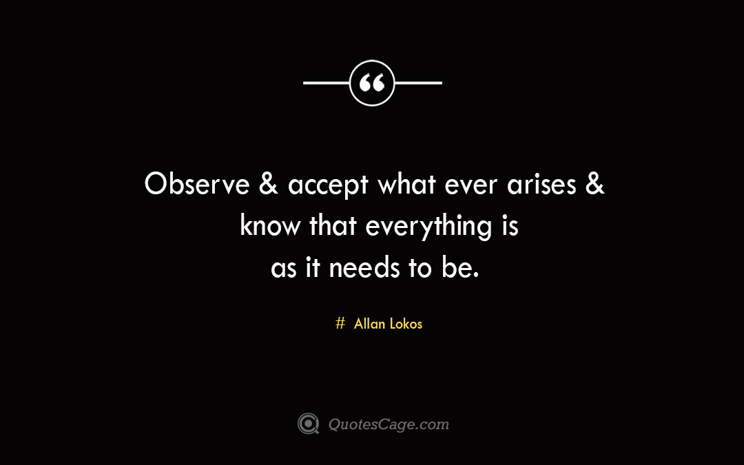 Observe accept what ever arises know that everything is as it needs to be. Allan Lokos 1