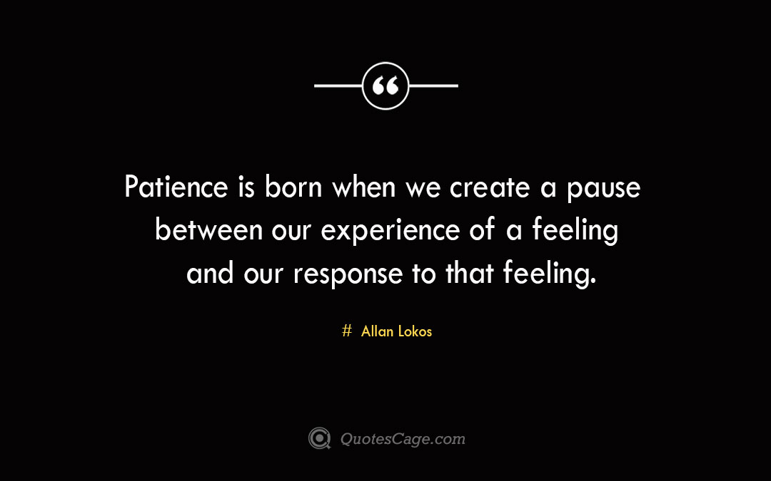 Patience is born when we create a pause between our experience of a feeling and our response to that feeling. Allan Lokos 1