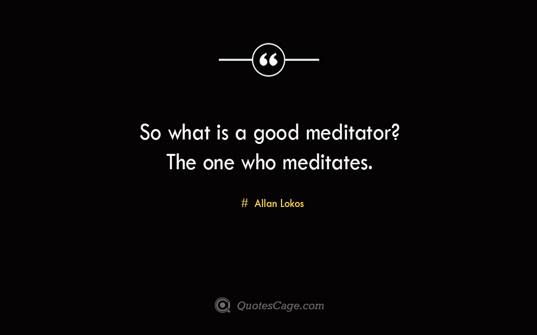 So what is a good meditator The one who meditates. Allan Lokos 1