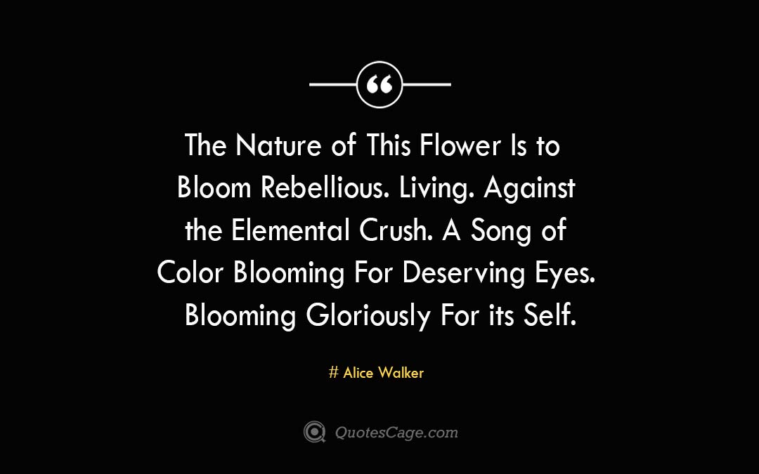 The Nature of This Flower Is to Bloom Rebellious. Living. Against the Elemental Crush. A Song of Color Blooming For Deserving Eyes. Blooming Gloriously For its Self. Alice Walker 2