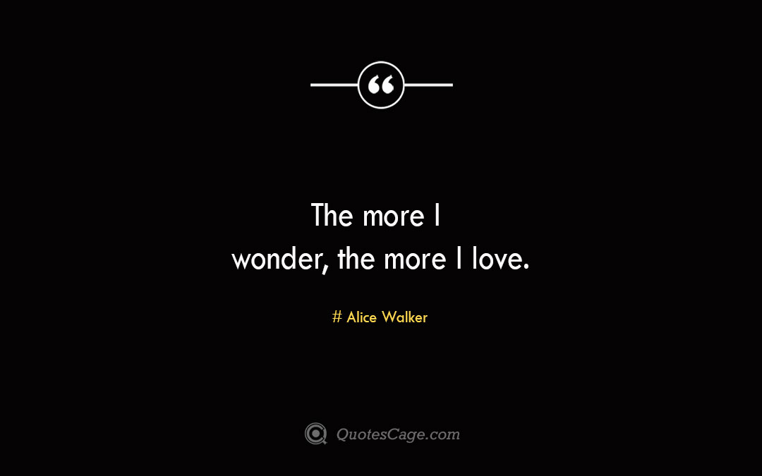 The more I wonder the more I love. Alice Walker
