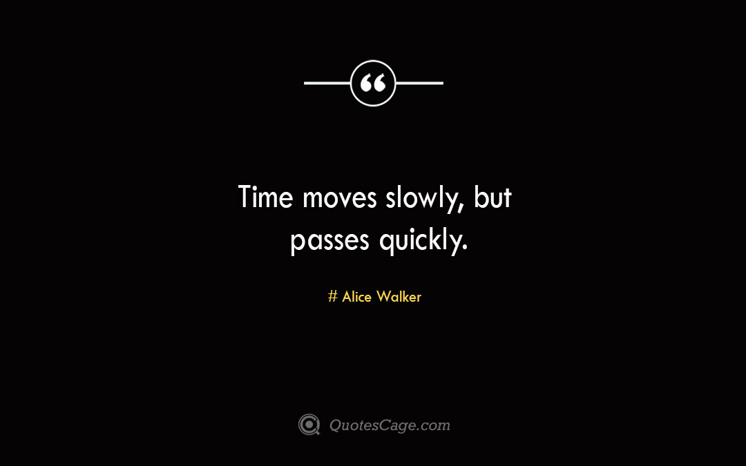 Time moves slowly but passes quickly. Alice Walker