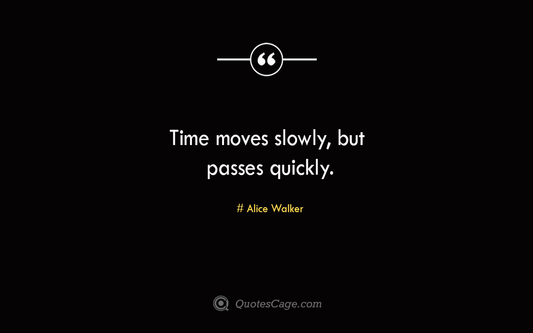 Time moves slowly but passes quickly.Alice Walke