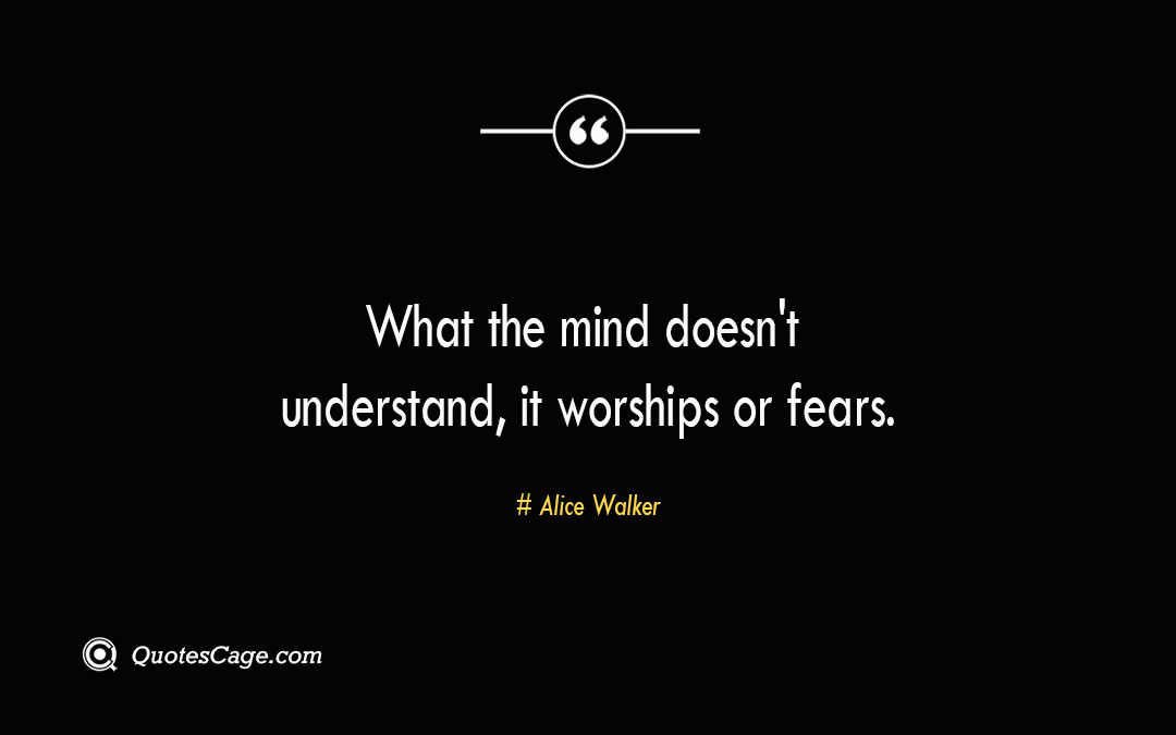 What the mind doesnt understand it worships or fears. Alice Walker