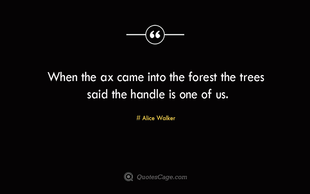 When the ax came into the forest the trees said the handle is one of us. Alice Walker 2