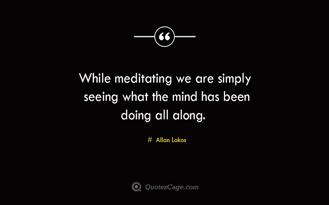 While meditating we are simply seeing what the mind has been doing all along. Allan Lokos 1