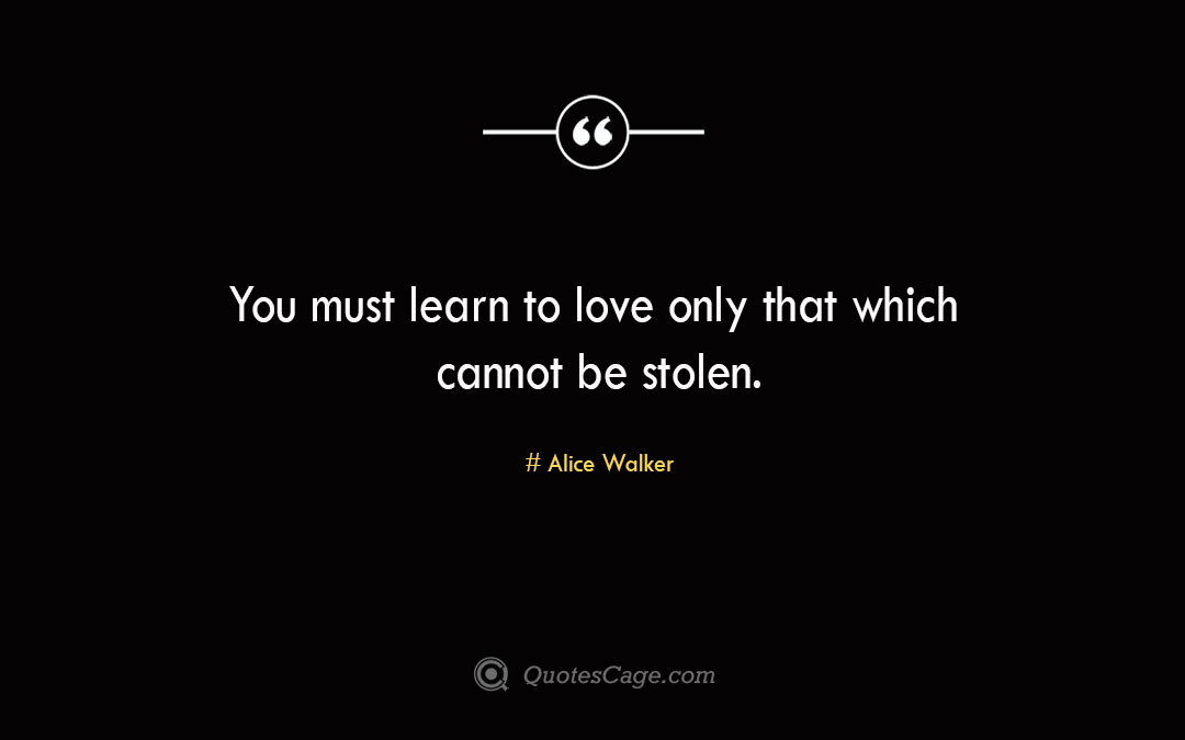 You must learn to love only that which cannot be stolen. Alice Walker