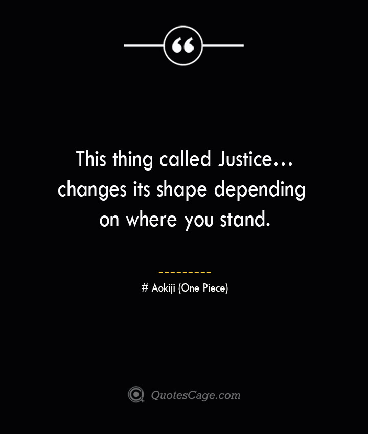 This thing called Justice…changes its shape depending on where you stand. – Aokiji One Piece