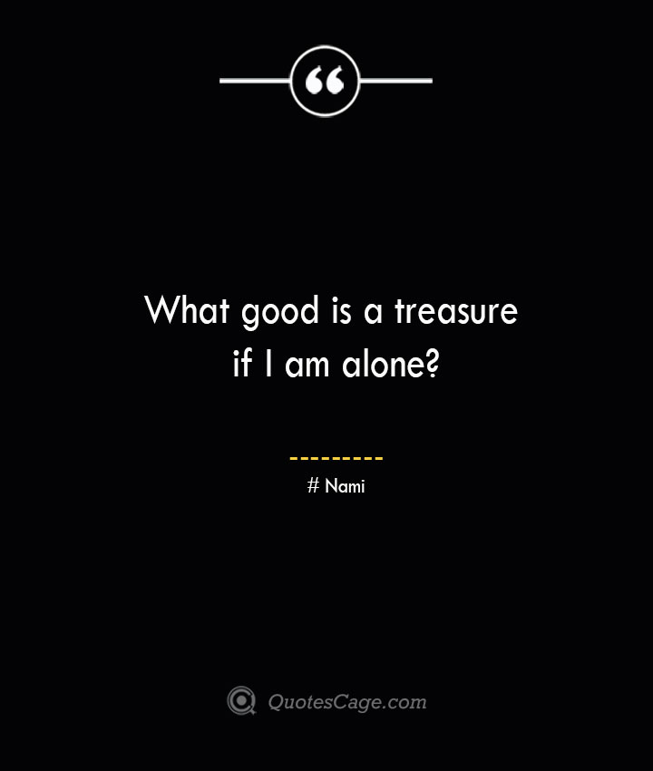 What good is a treasure if I am alone Nami