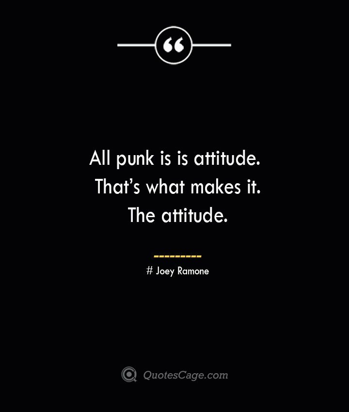 All punk is is attitude. Thats what makes it. The attitude. Joey Ramone