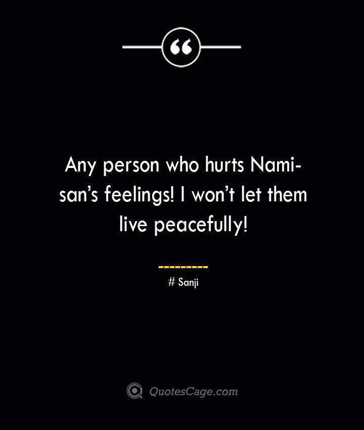 Any person who hurts Nami sans feelings I wont let them live peacefully Sanji
