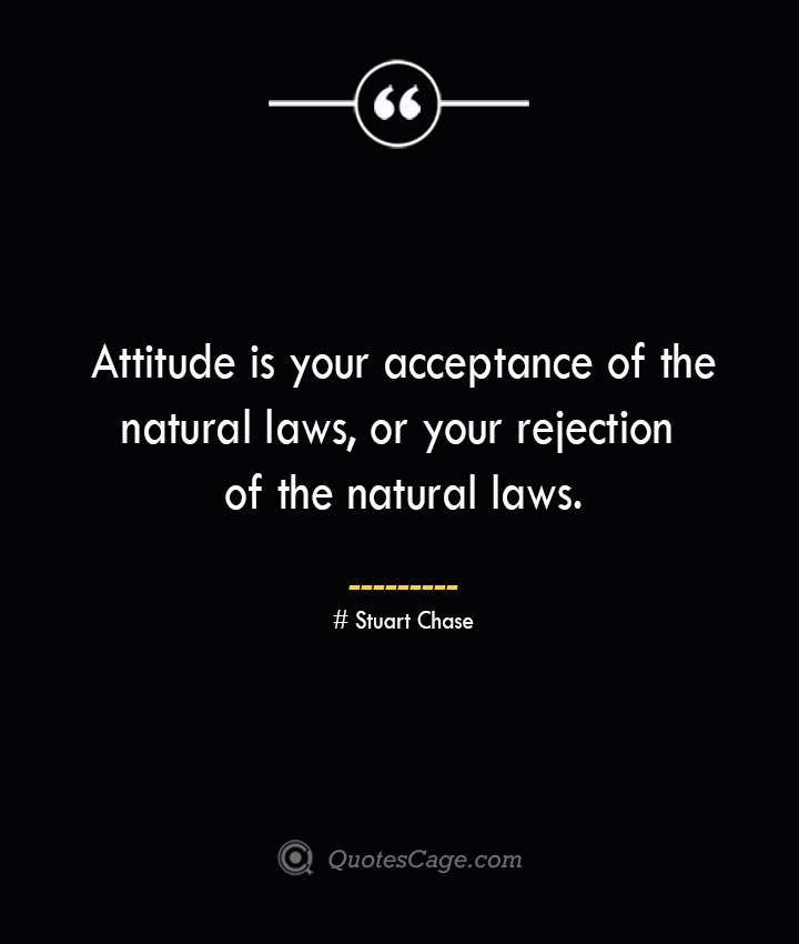 Attitude is your acceptance of the natural laws or your rejection of the natural laws. Stuart Chase