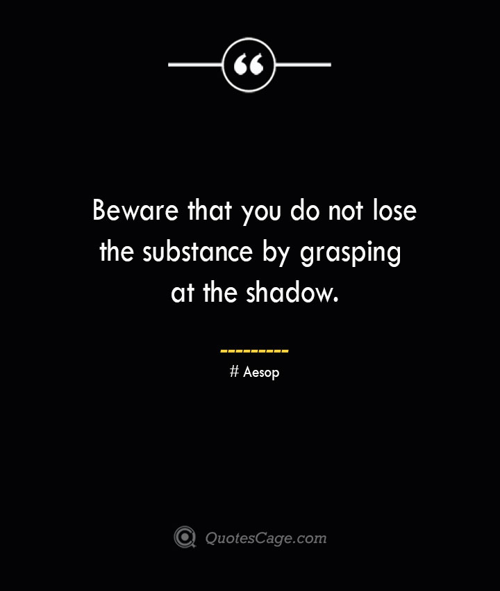 Beware that you do not lose the substance by grasping at the shadow. –Aesop