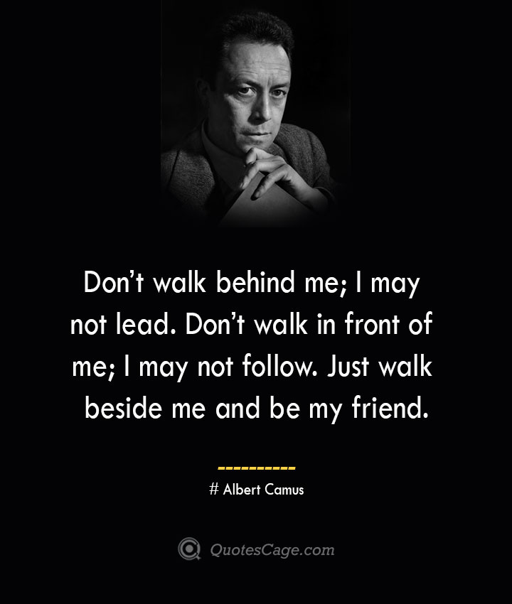 Dont walk behind me I may not lead. Dont walk in front of me I may not follow. Just walk beside me and be my friend. – Albert Camus