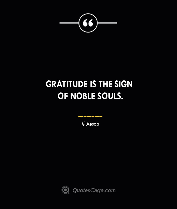 Gratitude is the sign of noble souls. –Aesop