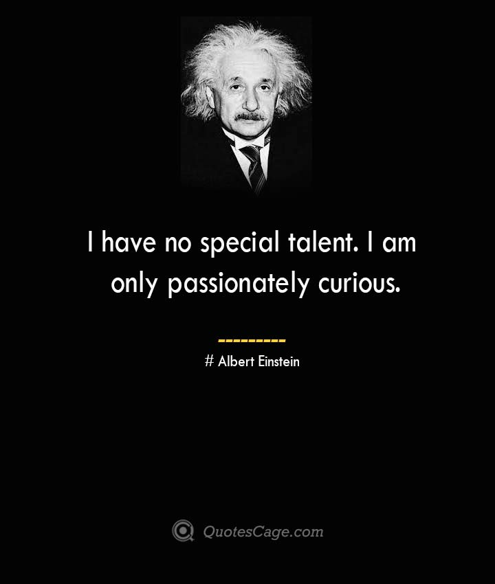 I have no special talent. I am only passionately curious. –Albert Einstein