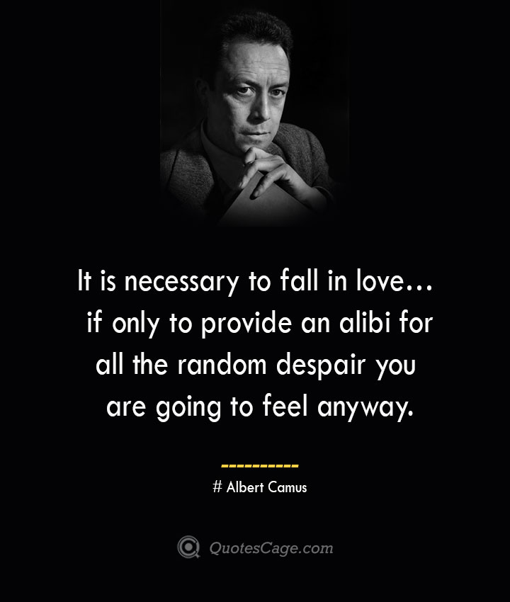 It is necessary to fall in love… if only to provide an alibi for all the random despair you are going to feel anyway. –Albert Camus