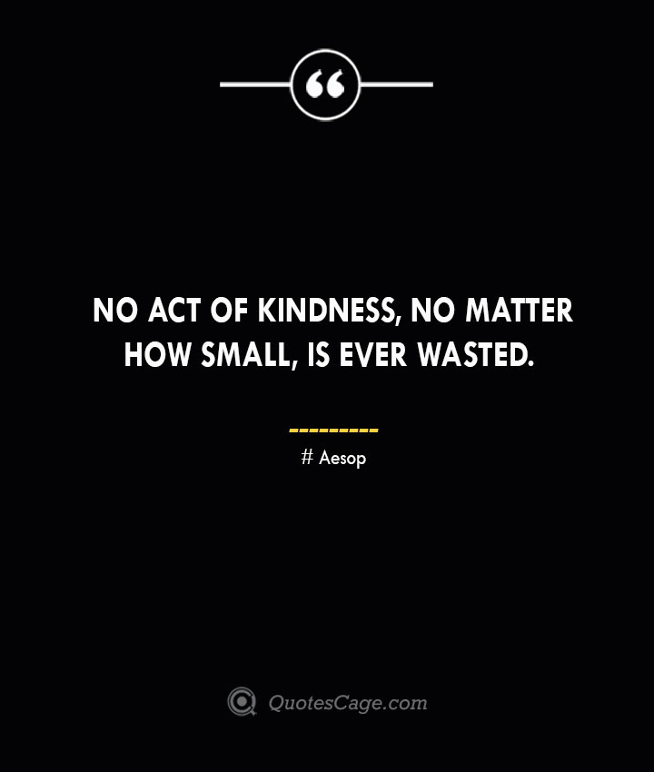 No act of kindness no matter how small is ever wasted. –Aesop