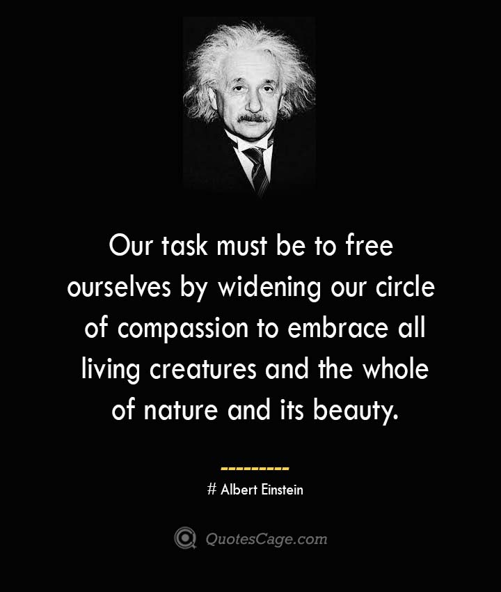 Our task must be to free ourselves by widening our circle of compassion to embrace all living creatures and the whole of nature and its beauty. –Albert Einstein