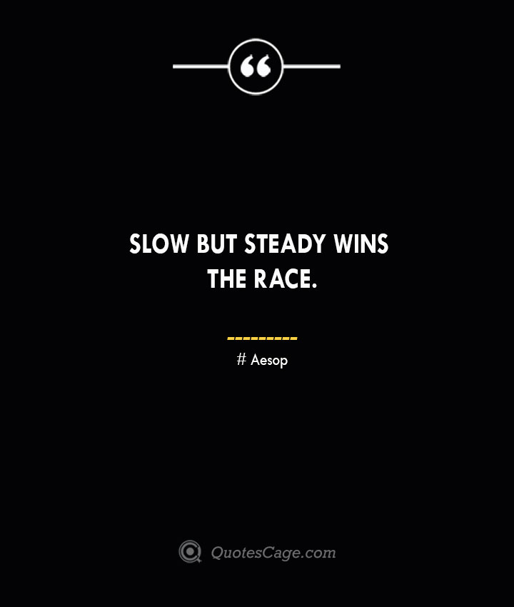 Slow but steady wins the race. –Aesop