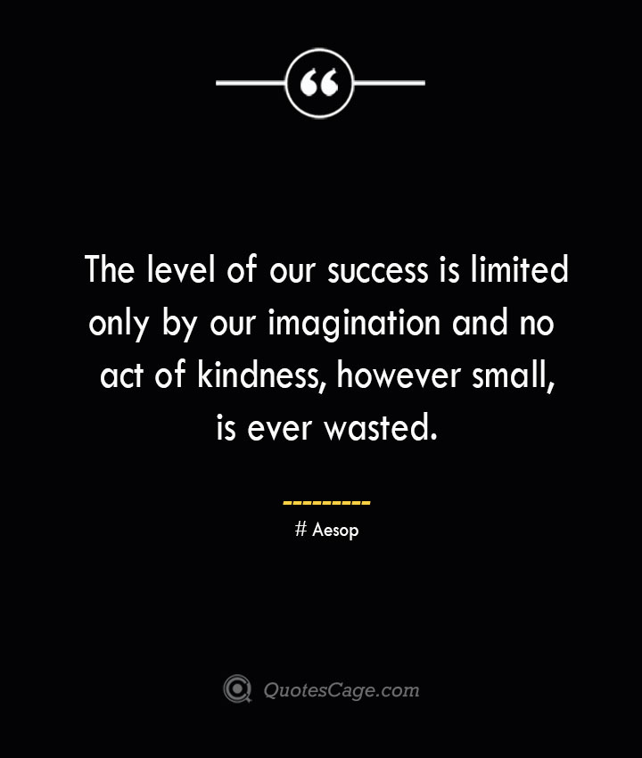 The level of our success is limited only by our imagination and no act of kindness however small is ever wasted. –Aesop