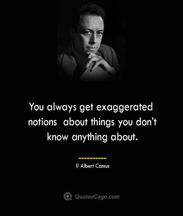You always get exaggerated notions about things you dont know anything about. – Albert Camus