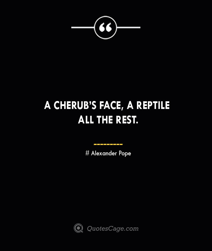 A cherubs face a reptile all the rest.— Alexander Pope