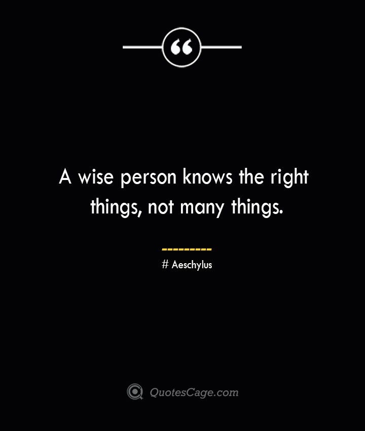 A wise person knows the right things not many things. Aeschylus