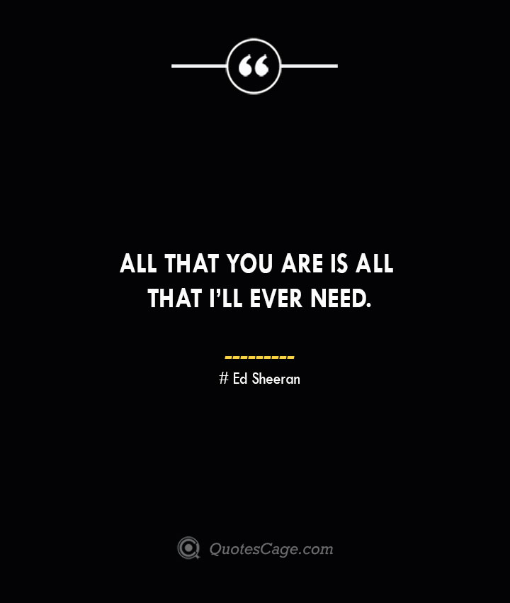 All that you are is all that Ill ever need.— Ed Sheeran