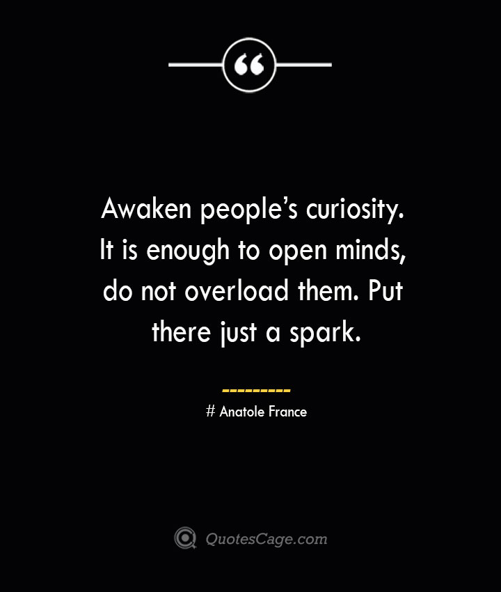 Awaken peoples curiosity. It is enough to open minds do not overload them. Put there just a spark. Anatole France