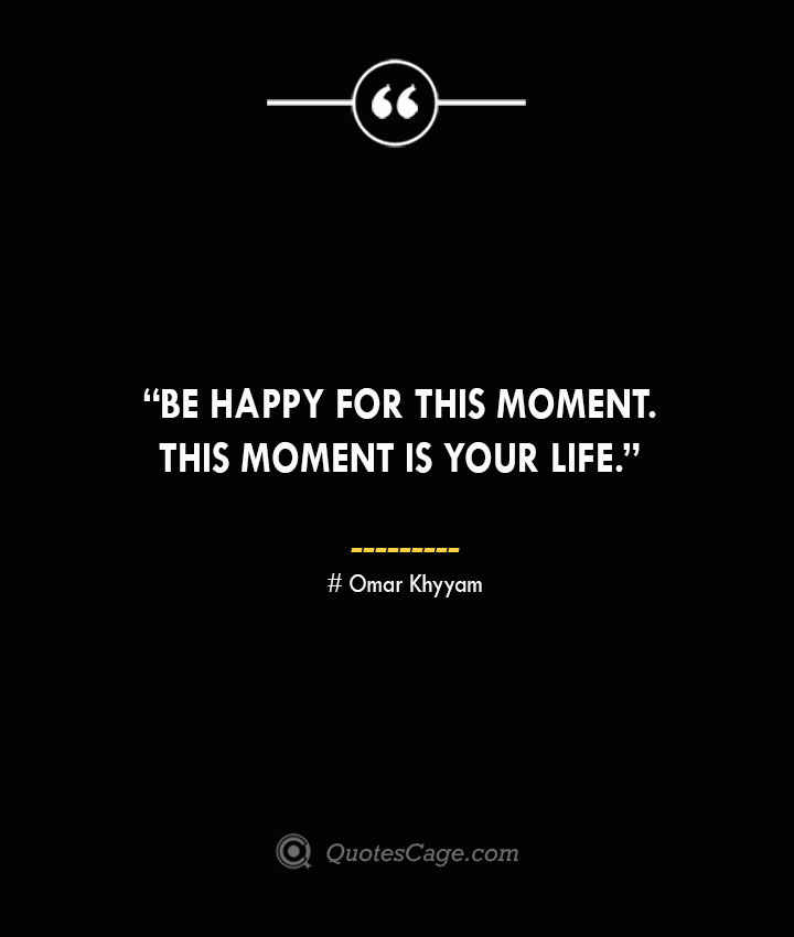 Be happy for this moment. This moment is your life. —Omar Khyyam