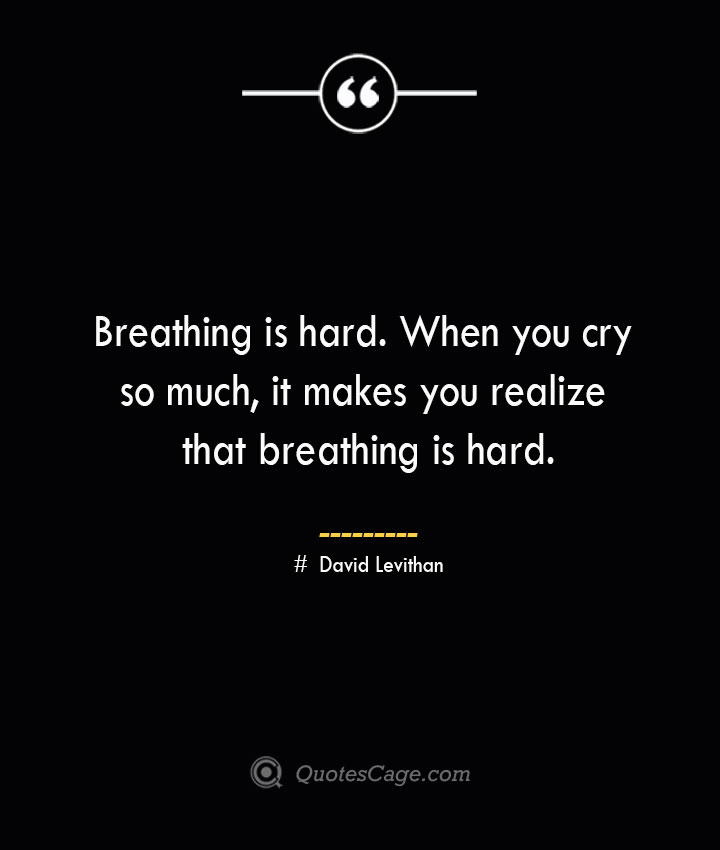 Breathing is hard. When you cry so much it makes you realize that breathing is hard.— David Levithan