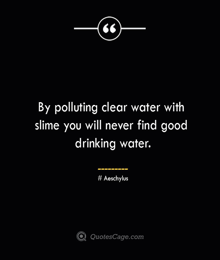By polluting clear water with slime you will never find good drinking water Aeschylus