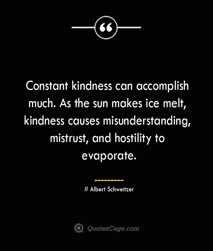 Constant kindness can accomplish much. As the sun makes ice melt kindness causes misunderstanding mistrust and hostility to evaporate.— Albert Schweitzer