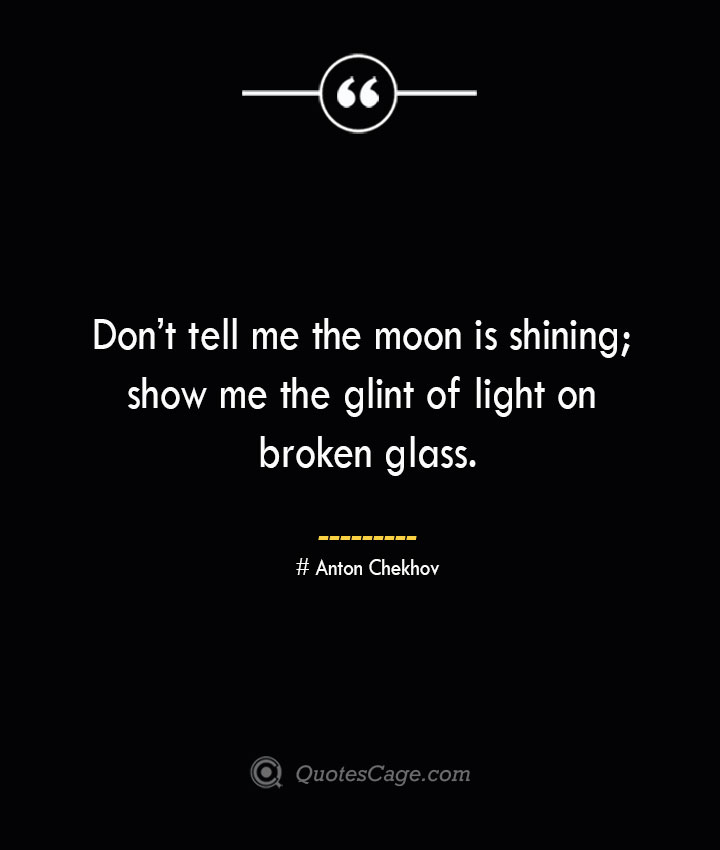 Dont tell me the moon is shining show me the glint of light on broken glass. Anton Chekhov