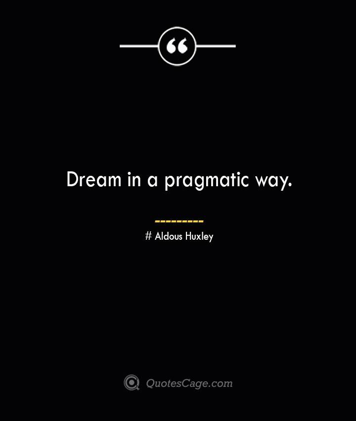 Dream in a pragmatic way.— Aldous