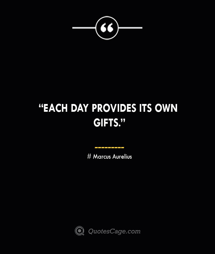 Each day provides its own gifts. —Marcus Aurelius