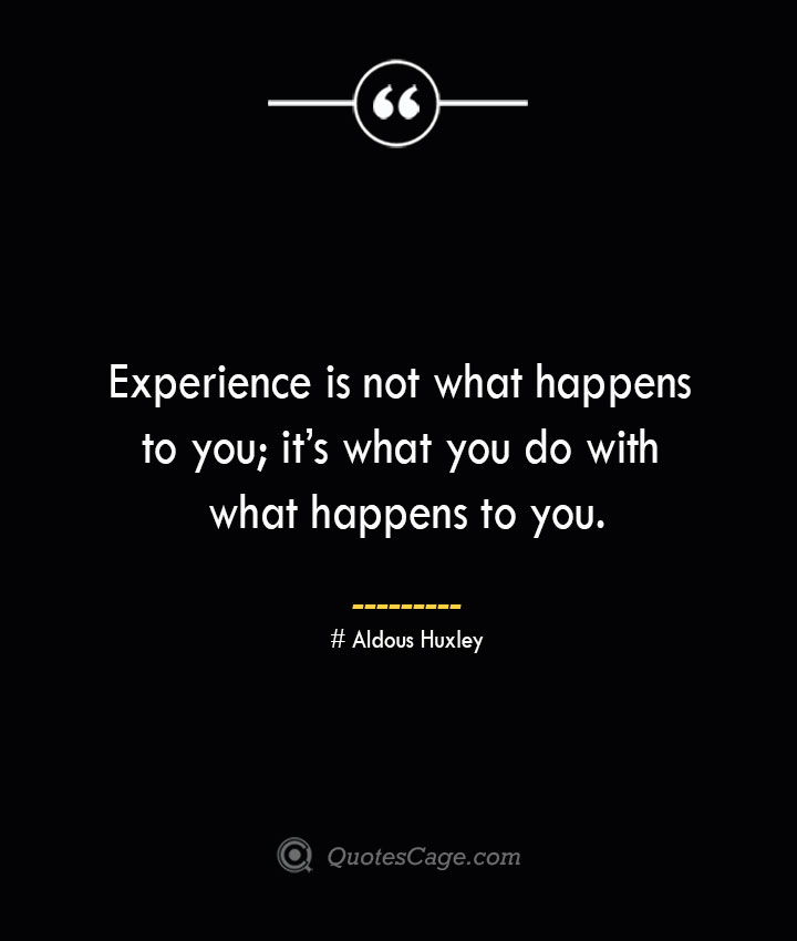 Experience is not what happens to you its what you do with what happens to you.— Aldous Huxley 1