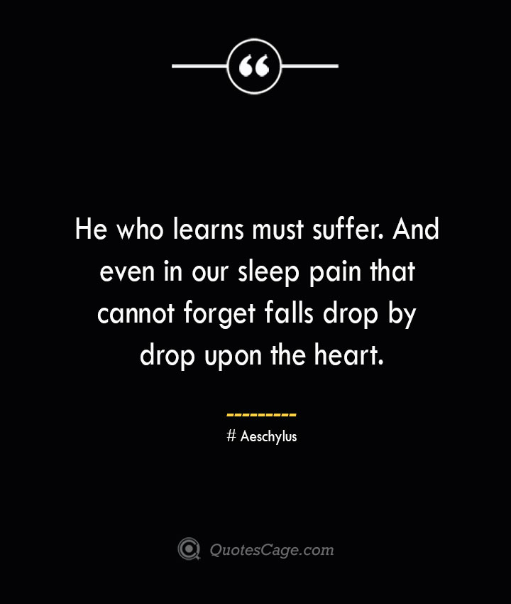 He who learns must suffer. And even in our sleep pain that cannot forget falls drop by drop upon the heart. Aeschylus 1