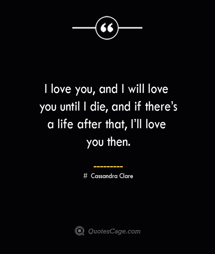 I love you and I will love you until I die and if theres a life after that Ill love you then.— Cassandra Clare