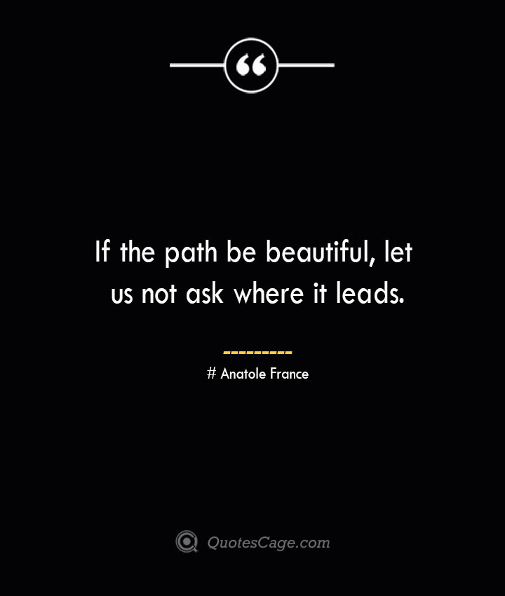 If the path be beautiful let us not ask where it leads.— Anatole France 1