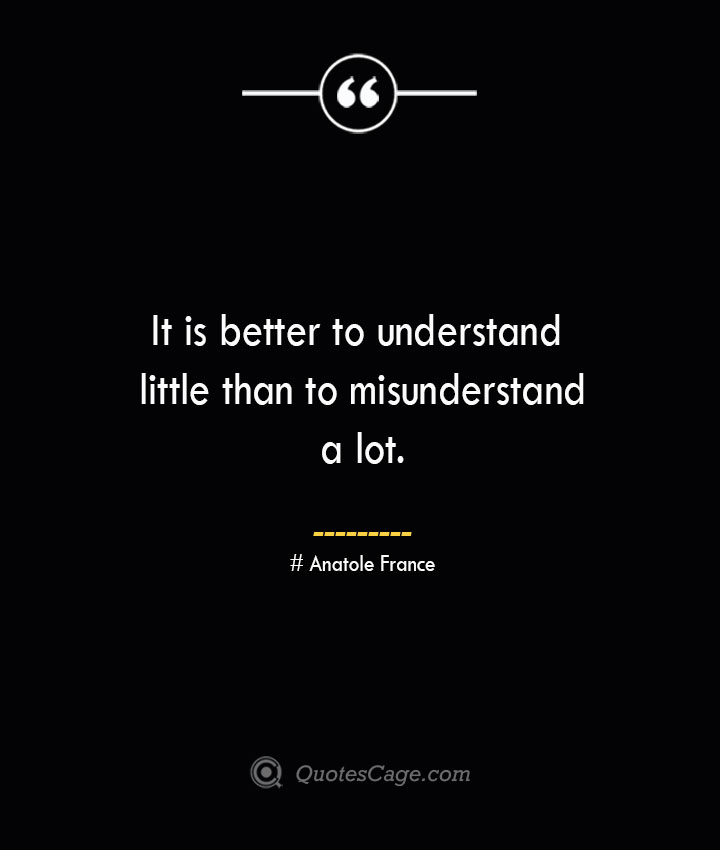 It is better to understand little than to misunderstand a lot.— Anatole France