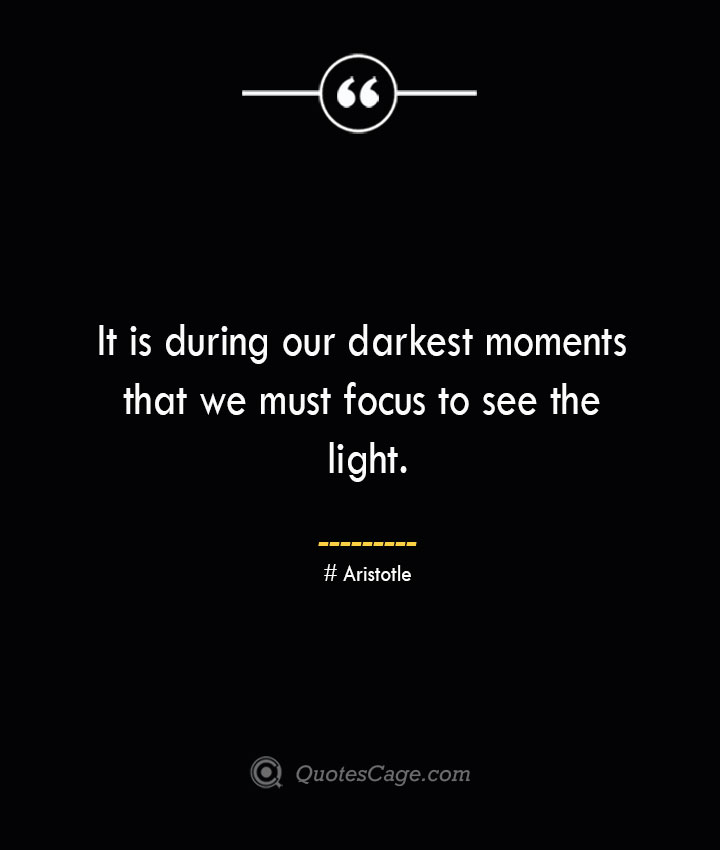 It is during our darkest moments that we must focus to see the light.— Aristotle
