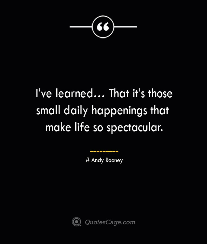 Ive learned… That its those small daily happenings that make life so spectacular.— Andy Rooney